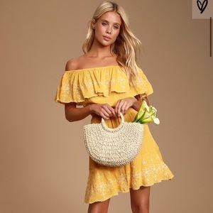 Lulu's Layla Mustard Yellow Ruffle Skater Dress